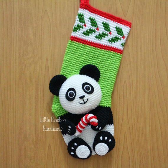 PATTERN - Panda Christmas Stocking - Crochet Pattern, pdf | häkeln ...