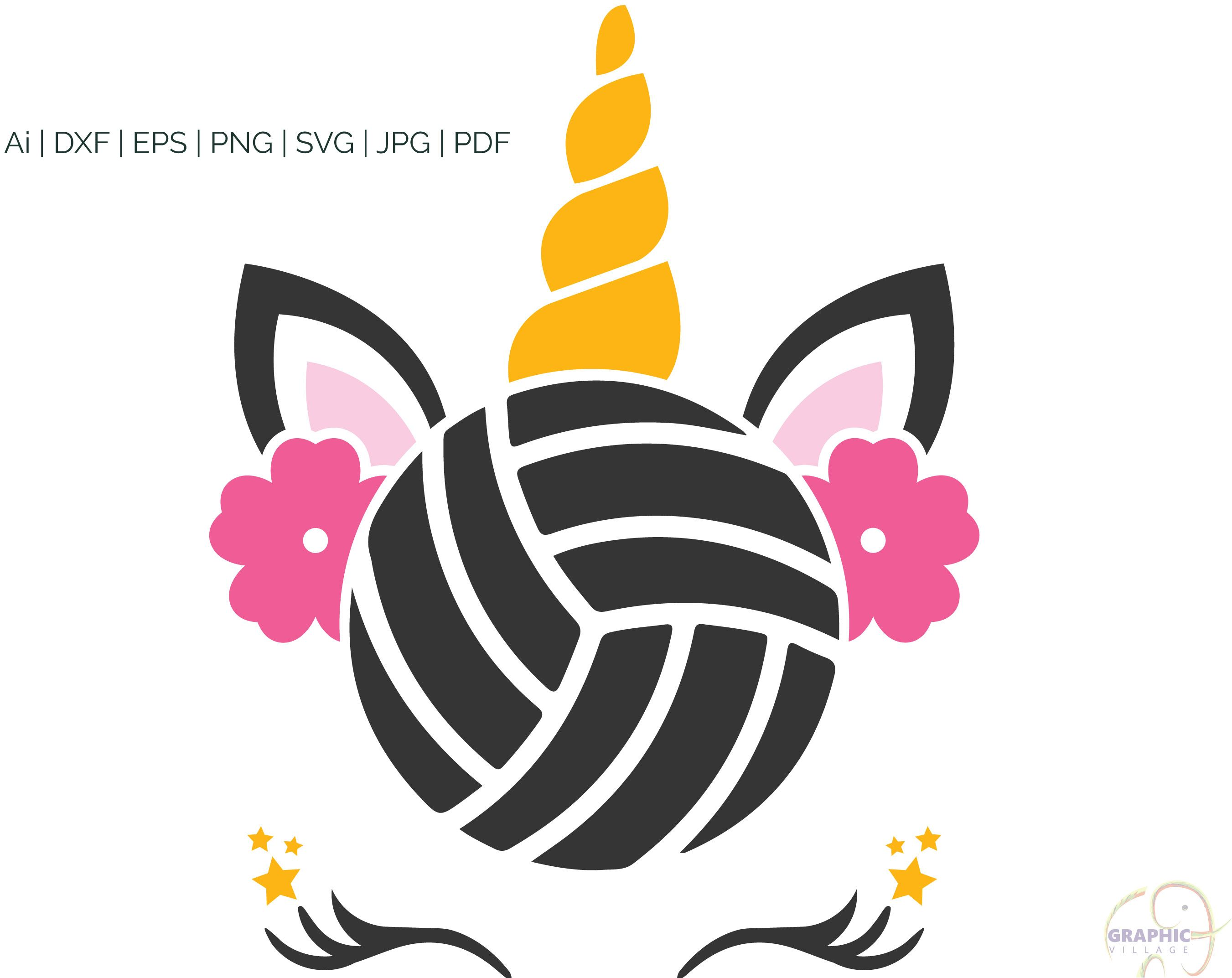 Unicorn Volleyball Svg Eps Vector Clipart Digital Silhouette Etsy Vector Clipart Vector Svg