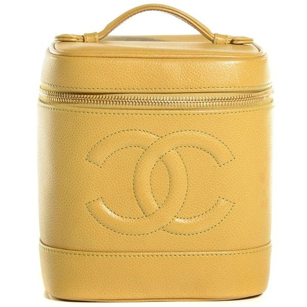 6e61e12be985f5 CHANEL Vintage Caviar Vanity Cosmetic Case Yellow ❤ liked on Polyvore  featuring beauty products, beauty accessories, bags & cases, cosmetic  purse, ...