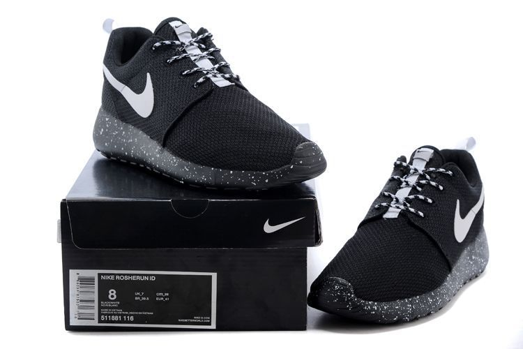 Over 65 OFF Womens Nike Shoes Roshe Run Id 2015 511881 116 Black Black  White