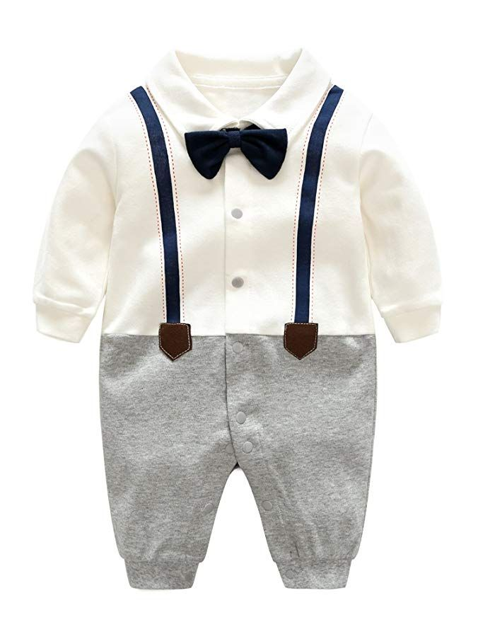 c5e809ddc2f7 Amazon.com  D.B.PRINCE Baby Boys Long Sleeves Gentleman Cotton Rompers  Small Suit Bodysuit Outfit with Bow Tie  Clothing