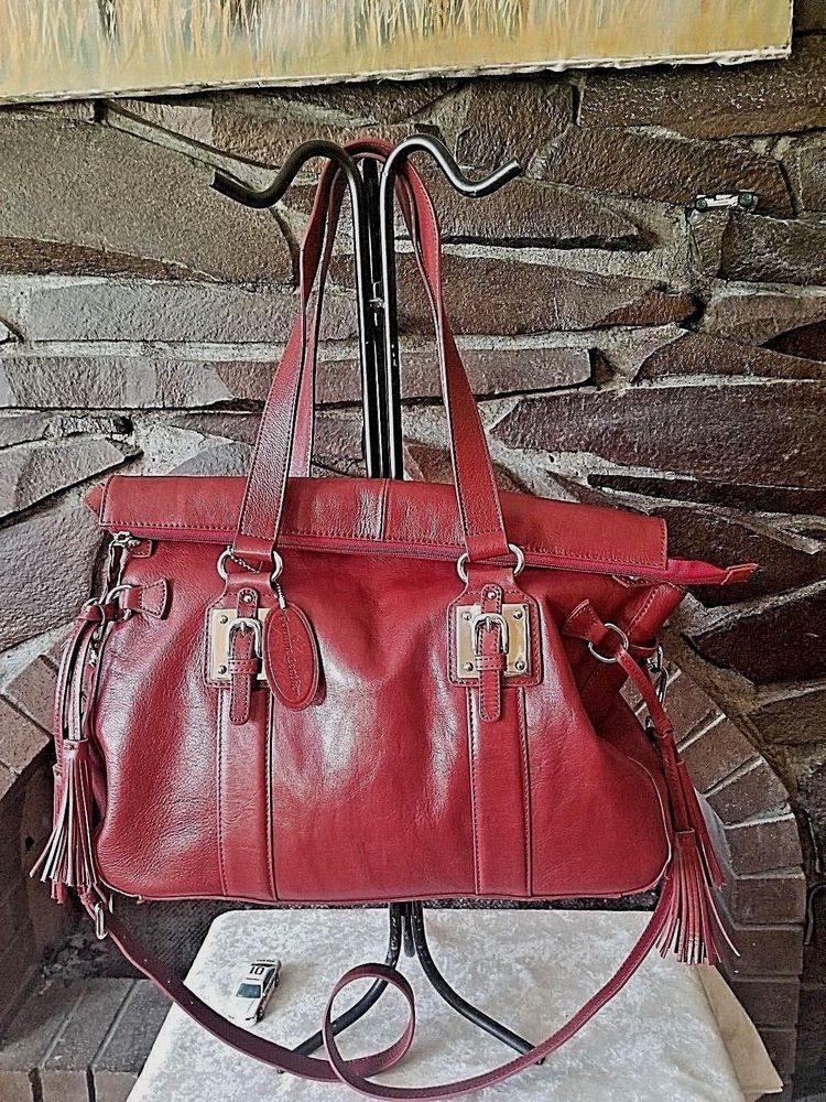 Wilsons Leather Womens Large Red Leather Purse Satchel Bag