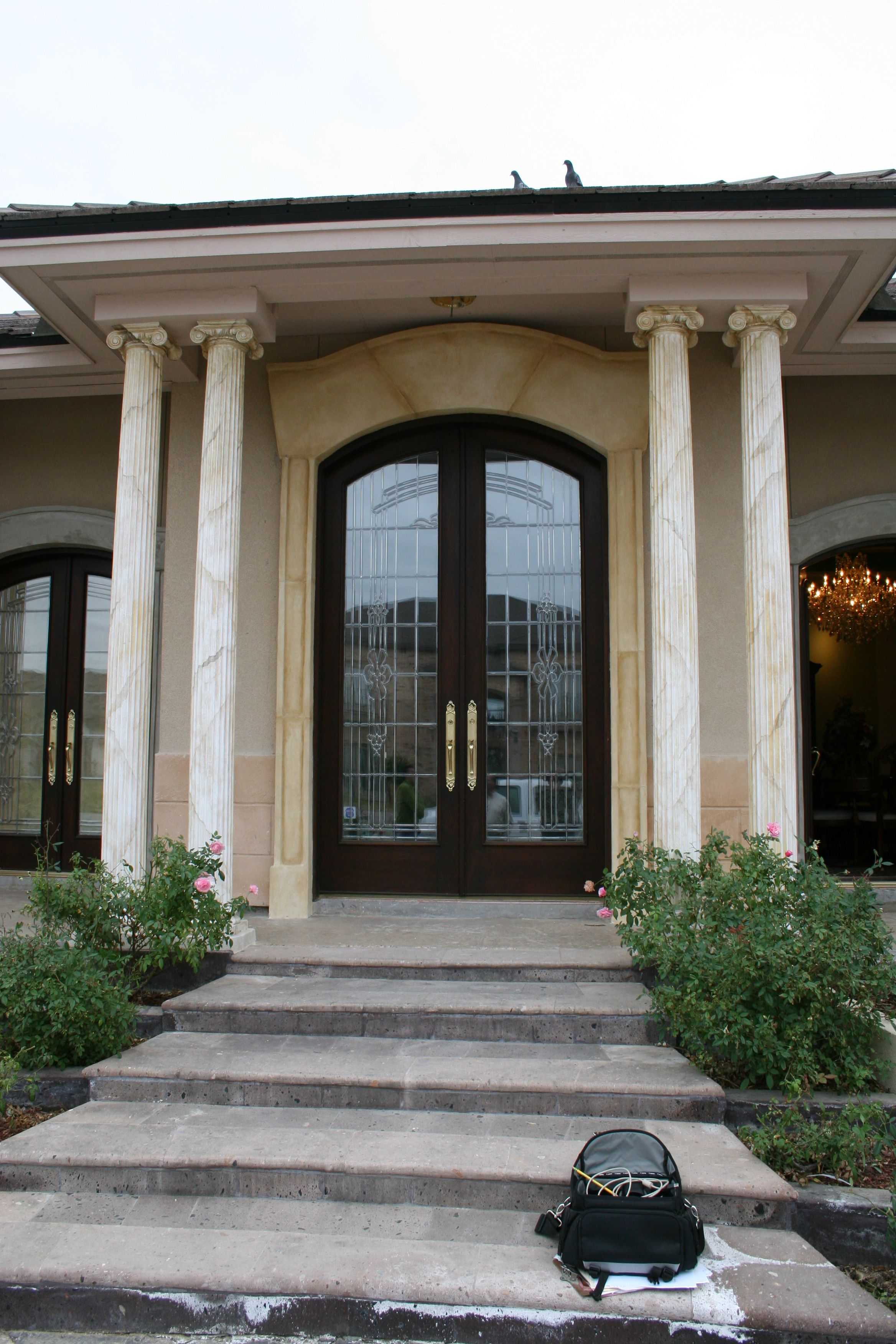 Grand Arched Entry Double Door With Lead Glass Designed Built And