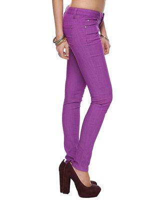 Just bought these purple skinny jeans at Forever 21. Can't