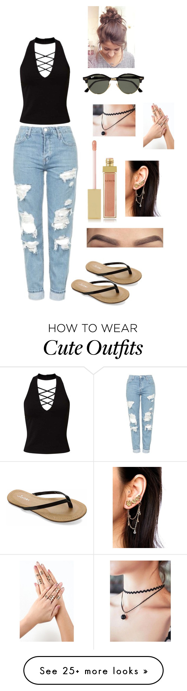 """""""My go to outfit this entire summer"""" by vanessaarce on Polyvore featuring Miss Selfridge, Topshop, UNIONBAY, Ray-Ban, AERIN and Free People"""