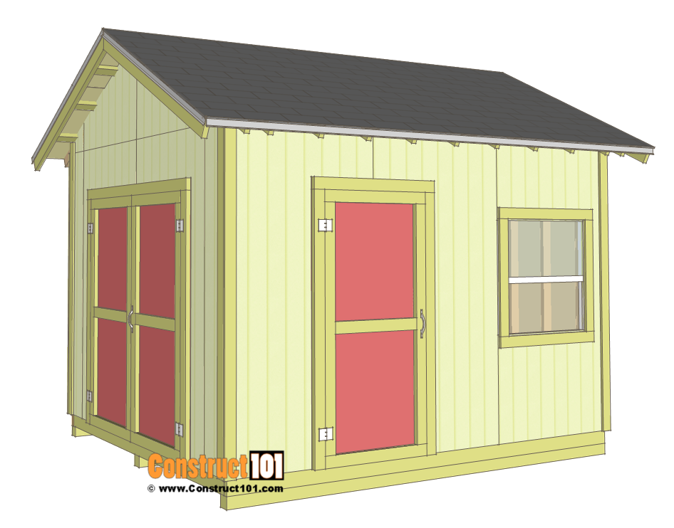 Shed plans 10x12 gable shed step by step woodworking for Gable roof barn plans