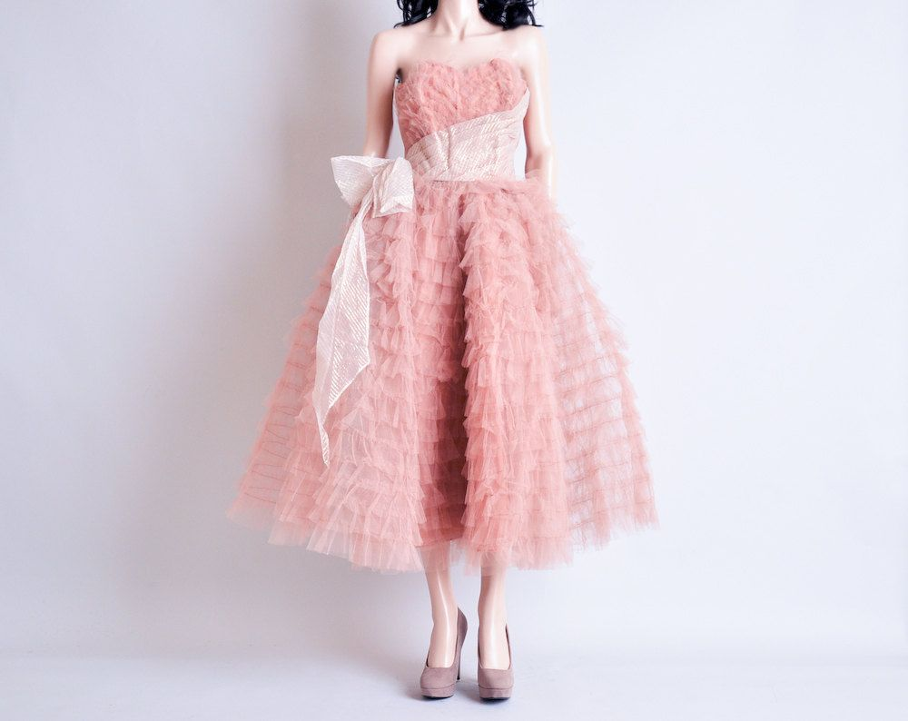 Vintage 50s pink mesh ruffle dress / party / tiered / strapless / s ...