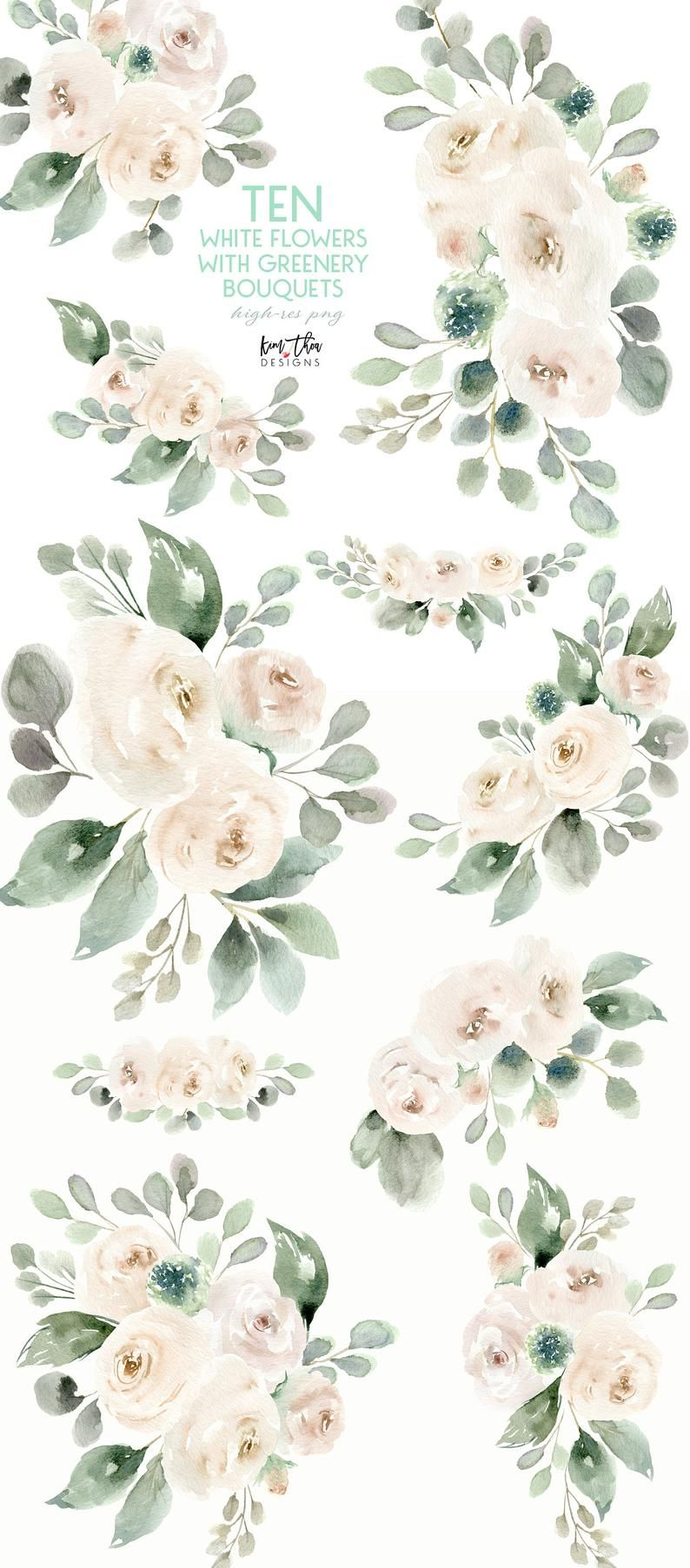 White Flower Watercolor Clipart With Eucalyptus Greenery Etsy In 2021 Watercolor Flowers Watercolor Clipart Blossoms Art