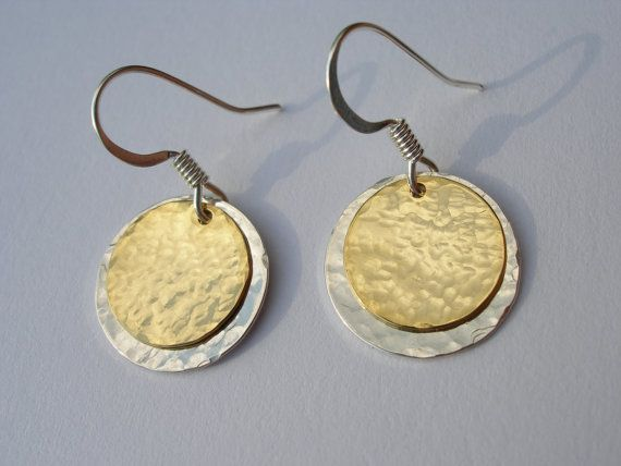 Hammered Silver And Gold Disc Earrings Mixed Metal Double Layer Nickel Free