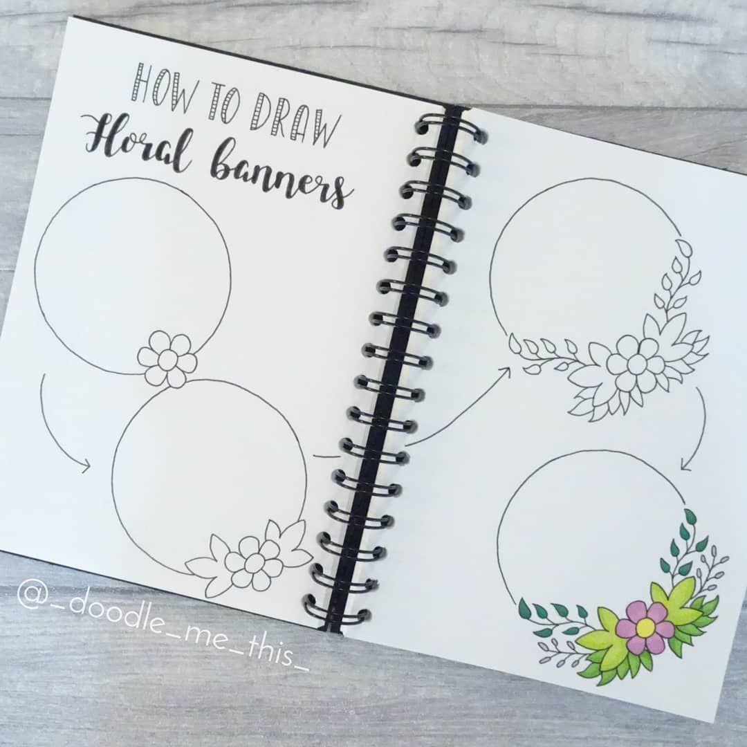 """Photo of Doodle Me This on Instagram: """"A floral banner that's super easy to draw 🌺🌸🌿 . . . #floral #banner #floralbanner #saturday #howto #howtodraw #guide #draw #drawings…"""""""