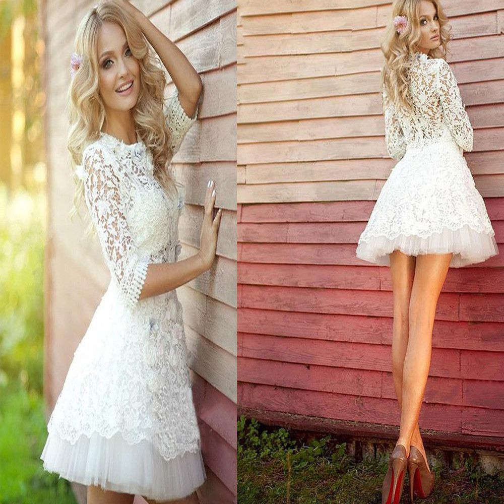 Pretty white lace long sleeve see through homecoming prom dresses