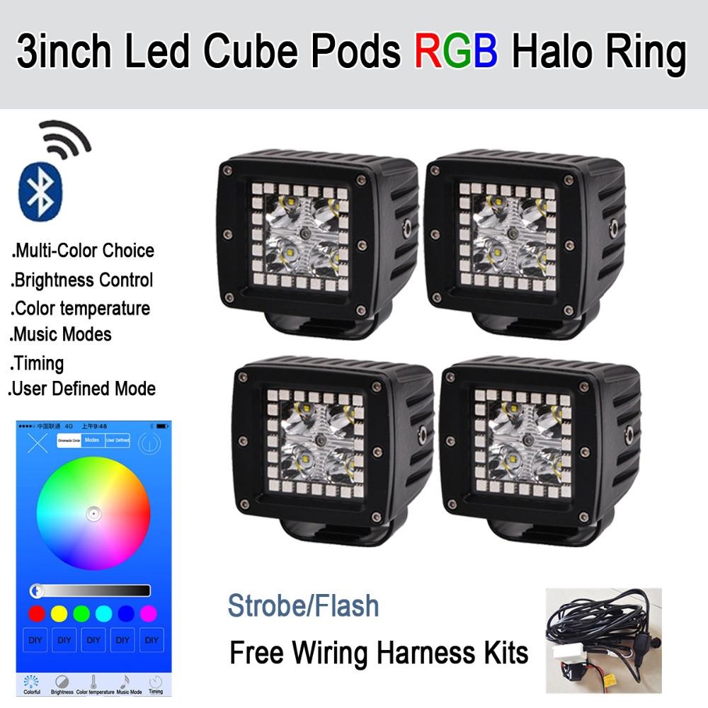 "4x 3/"" Led Work Light Bar Pod Cubes RGB Halo Strobe Music Control Bluetooth"