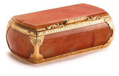 A Russian Gold-Mounted Carved Hardstone Snuff Box, St. Petersburg, circa 1860