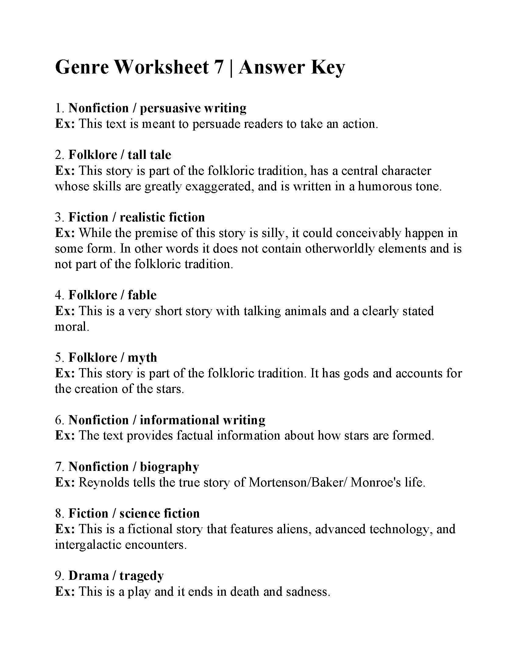 32 Genre Worksheet 3rd Grade In
