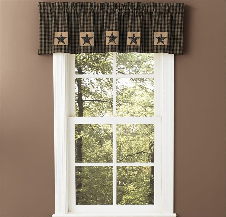 "Black Sturbridge Patch Lined Curtain Valance 60"" x 14"""