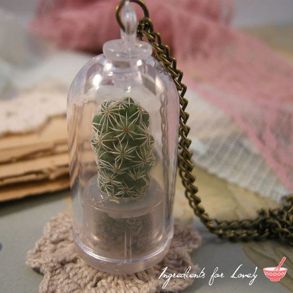 1 REAL Golf Ball Cactus PLANT Pendant Charm Cylinder