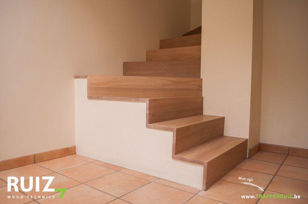 Bekleden van een betonnen kwartdraai trap met l profiel