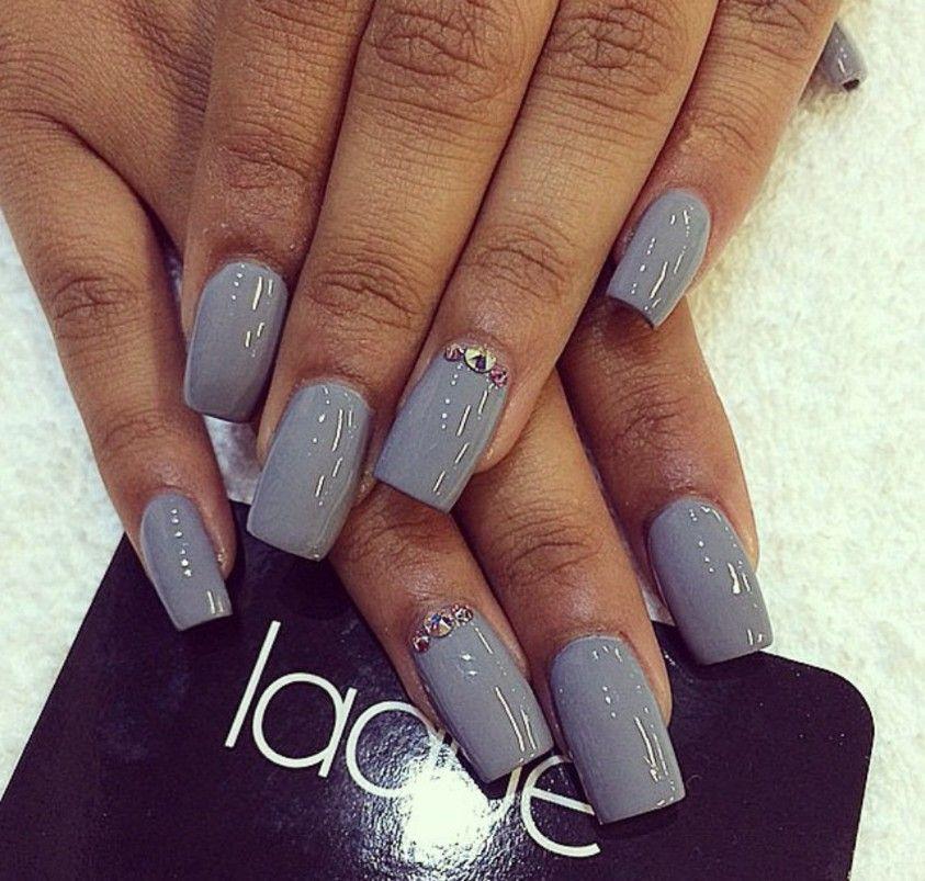 Long square grey nails | Square acrylic nails, Square ...