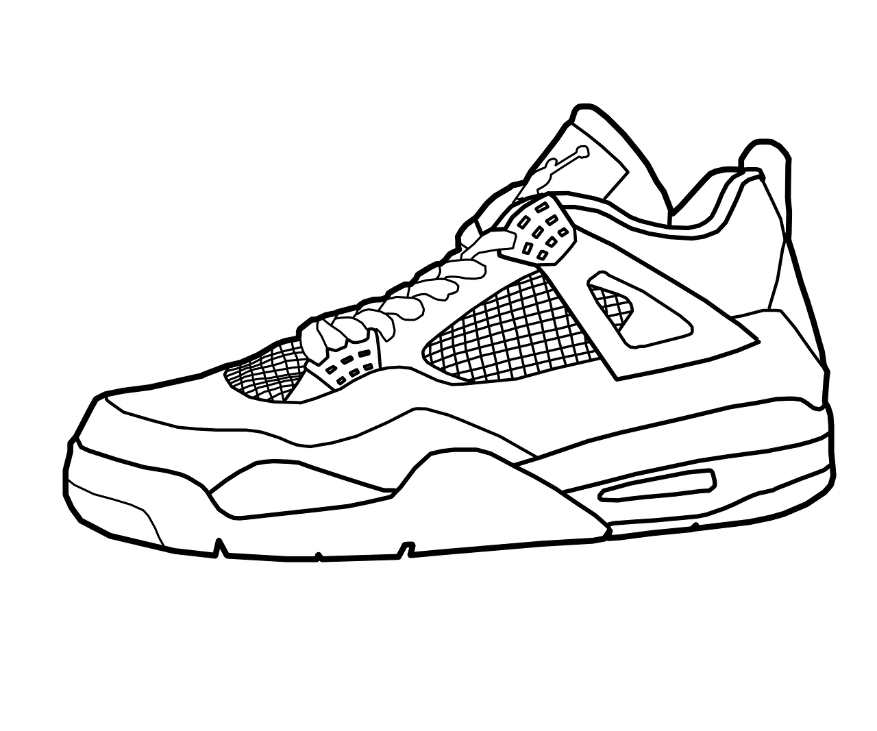 Drawing Jordans Shoes Coloring Pages | PIEZA PLANA ZAPATO ...
