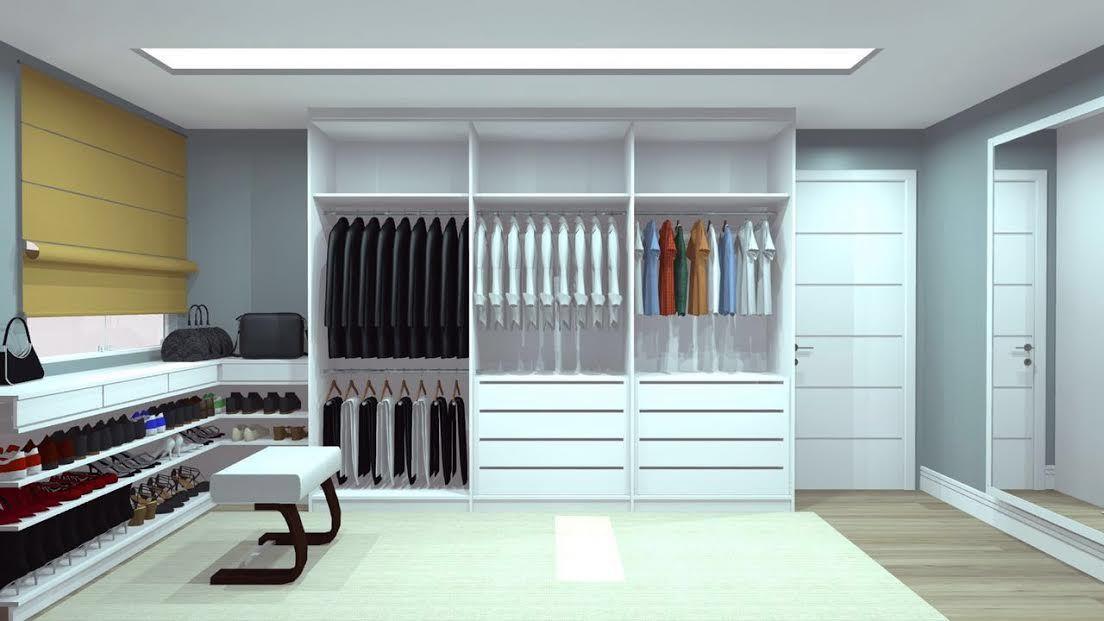 Organização. A padronização dos cabides, facilitam a organização dos armários