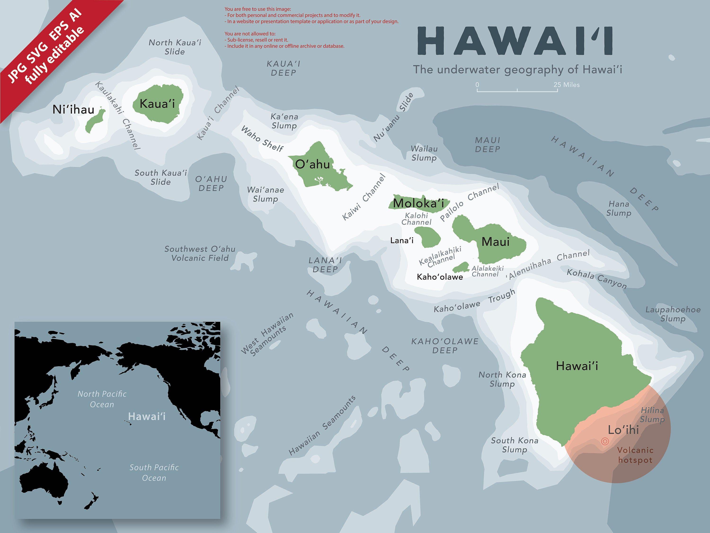 Hawaii Editable Map Files Print And Editable Vectors
