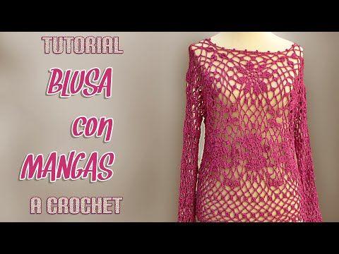 Como tejer blusa con mangas a crochet (1/3) - YouTube