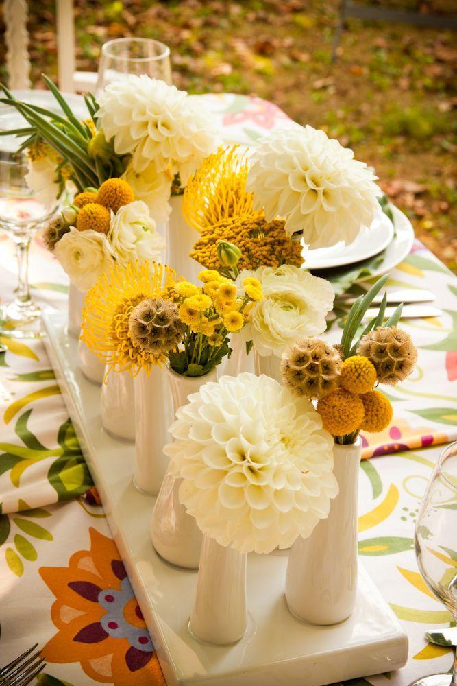 60 cheerful billy balls yellow wedding ideas httpwww dahlias billy balls and scabiosa wedding centerpiece mightylinksfo Image collections