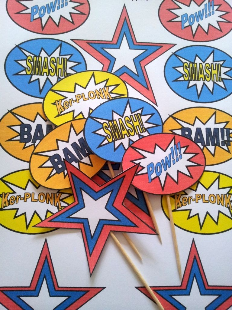 Free Superhero Pop Art Cupcake Toppers 2 768x1024 DIY Party Fun And Frugal Ideas