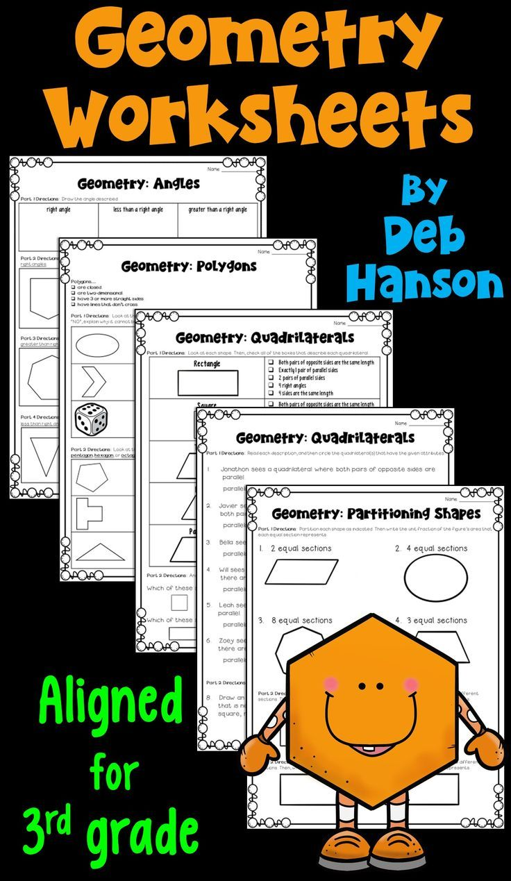 Geometry Worksheets for third grade Math Ideas