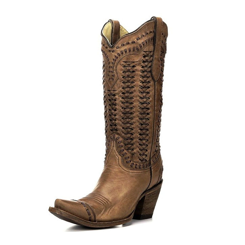 Women's Braided Shaft Cowgirl Boot Snip Toe Sand