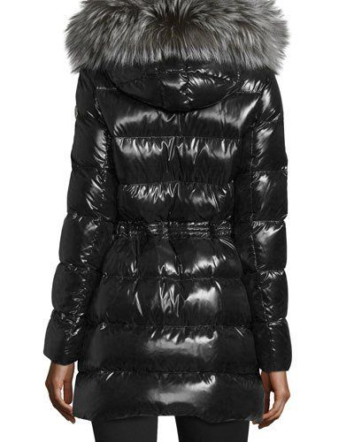 MONCLER APHROTITI SHINY QUILTED DOWN COAT W/FUR HOOD. #moncler #cloth #