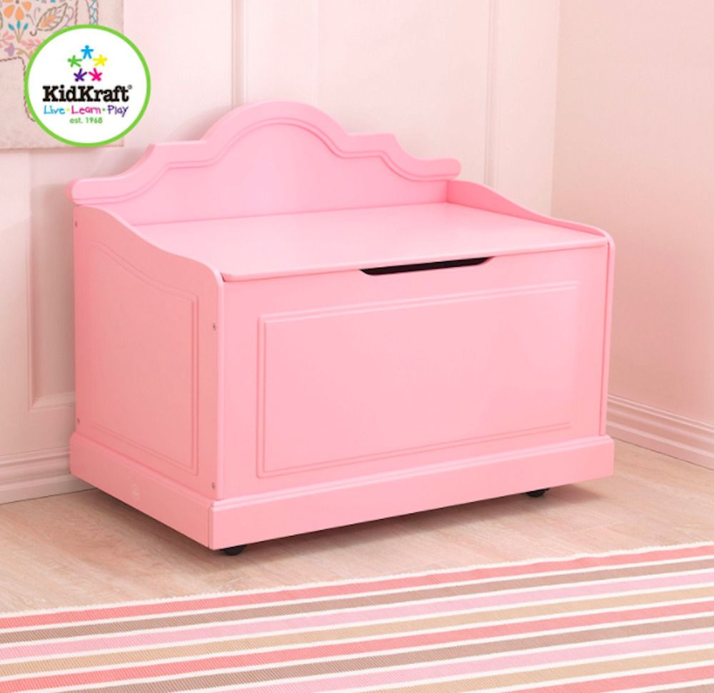pink color wooden toy box kids bench for playroom girls