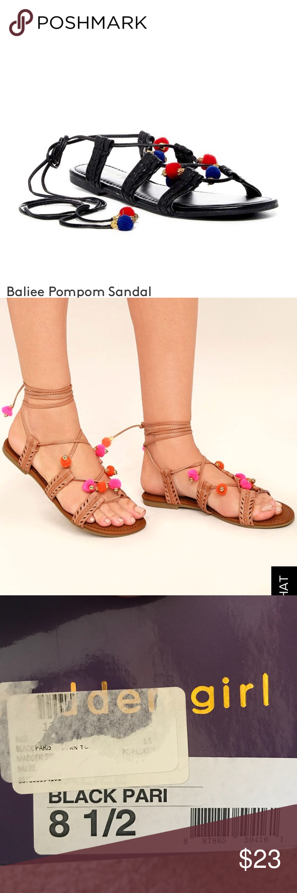 0583396d3880 🆕Madden Girl Pom Pom lace up sandals 8.5 Adorable black Pom Pom lace up  sandals