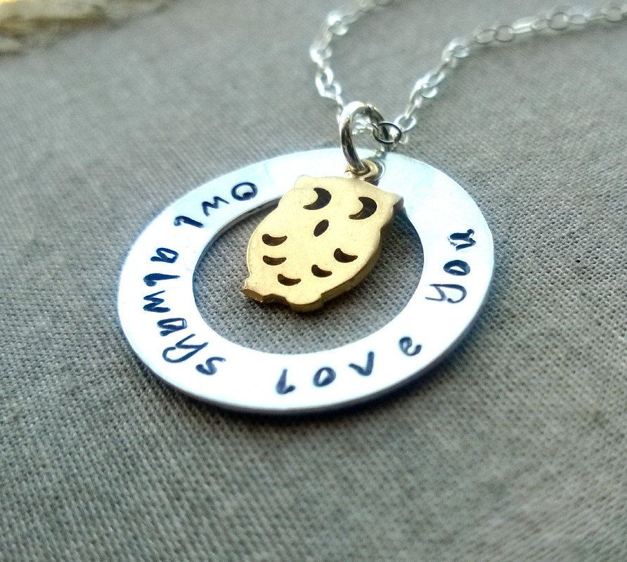 Owl Always Love You Handstamped Jewelry Owl by CuteAbility on Etsy, $32.00