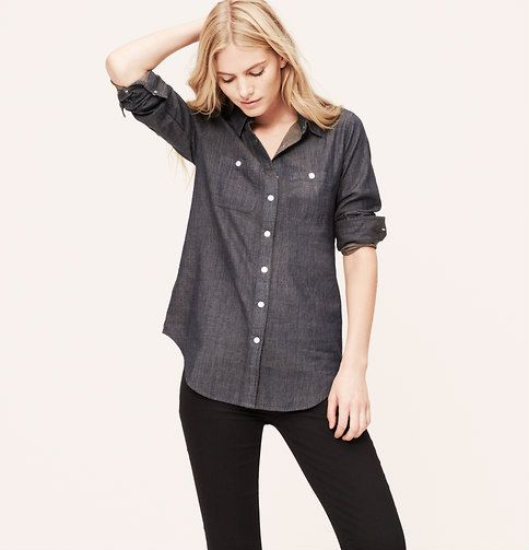 dc4e431a777a Chambray Tunic Softened Shirt in Dark Resin Blue.