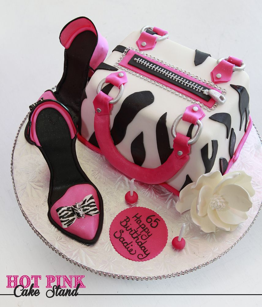 Hot PInk And Zebra Print Purse Birthday Cake With High Heel Shoes - Purse birthday cake ideas