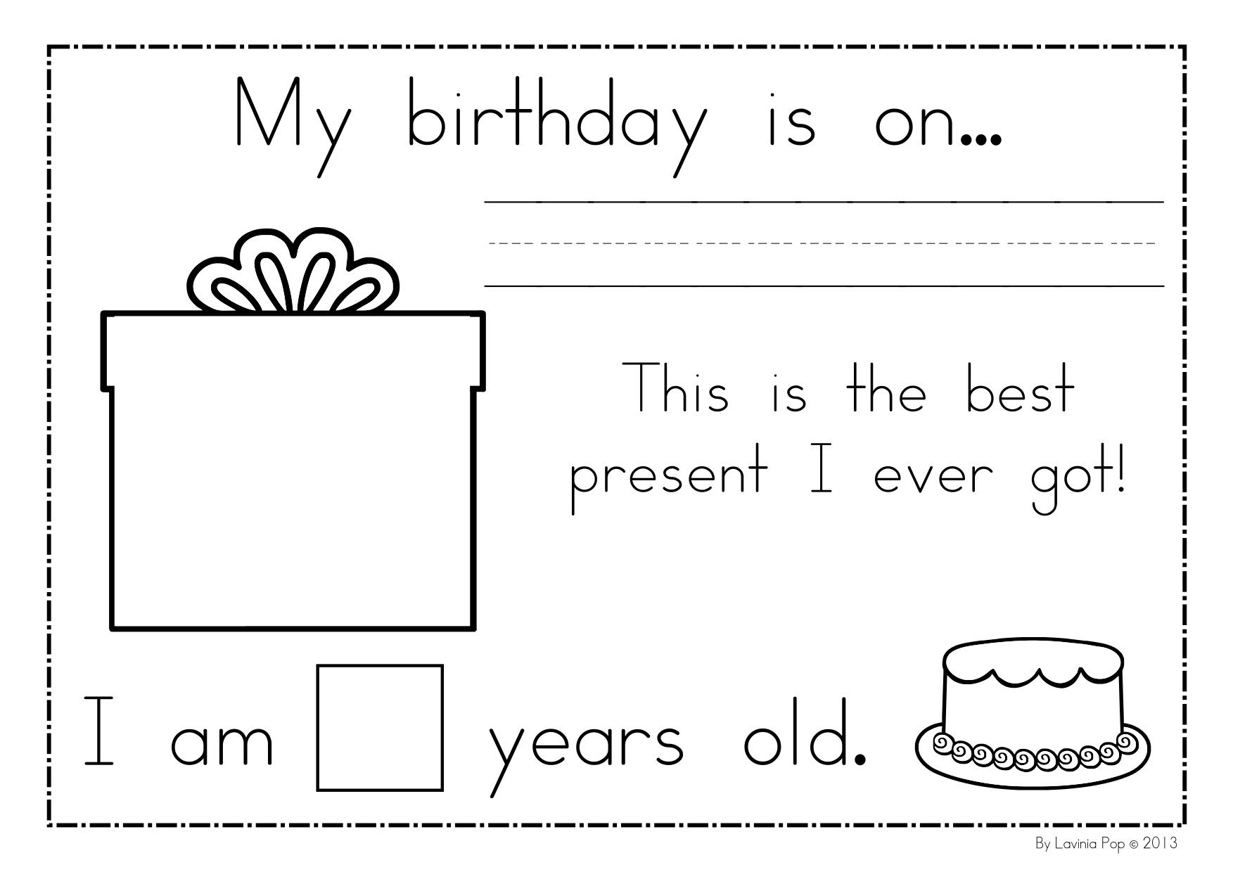 Birthday Celebration Worksheet Kindergarten