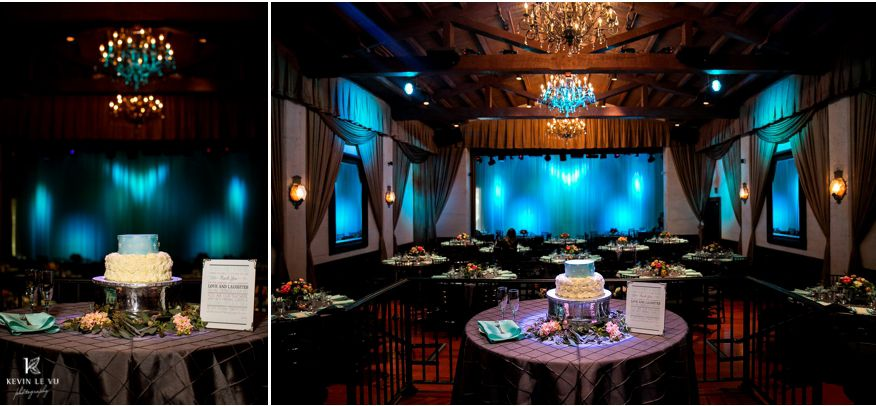 Reception With Blue Lighting And Small Cake Padua Hills Theatre Wedding For Rho