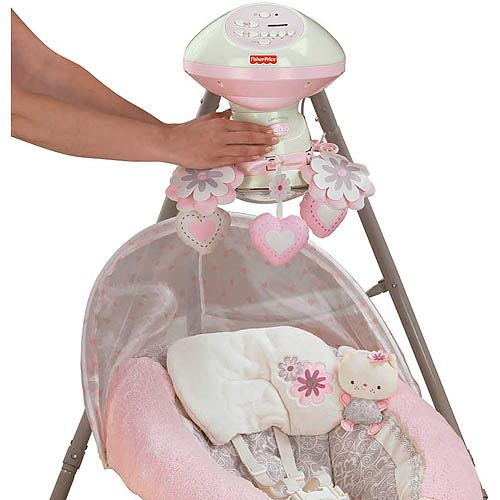 Fisher-Price - My Little Sweetie Deluxe Cradle Swing, Pink   Bouncer ...