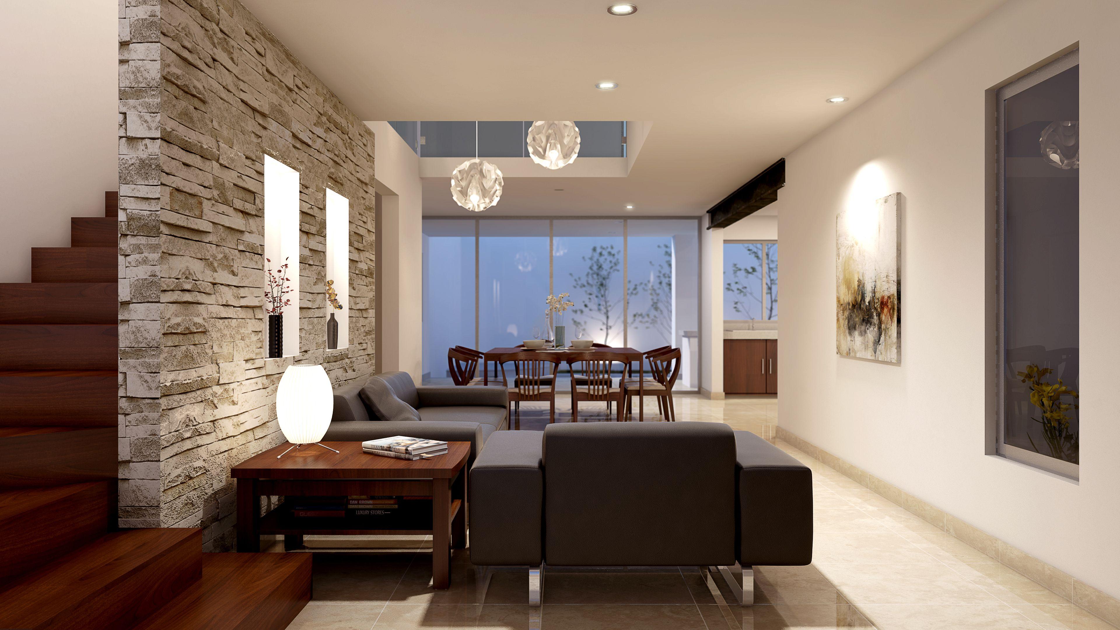 Sala comedor escalera de madera nicho de piedra rajuela for Disenos de salas y comedores modernos