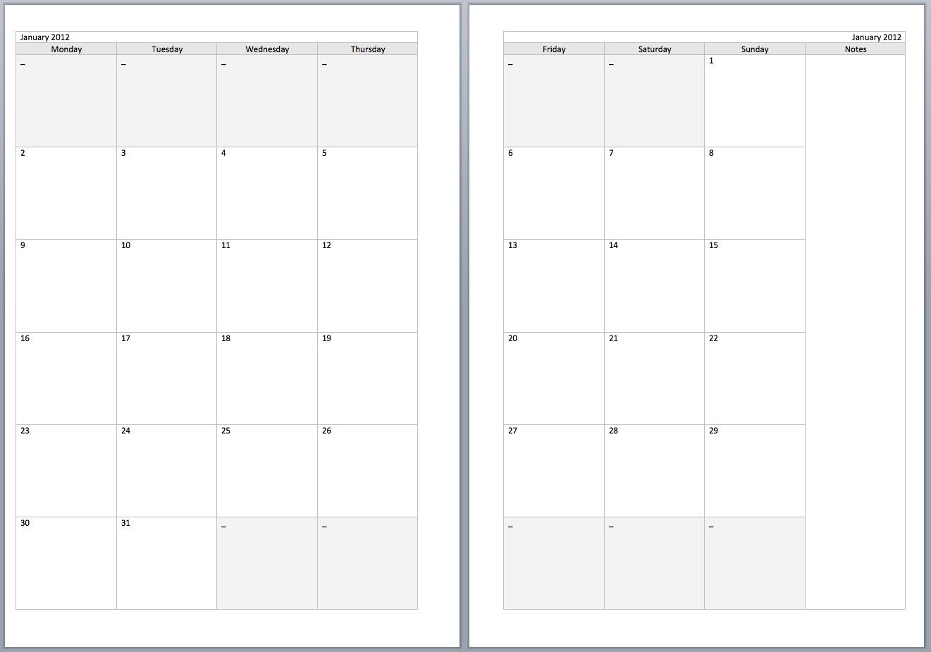 Free monthly filofax diary templates for a5 and personal for Online planner