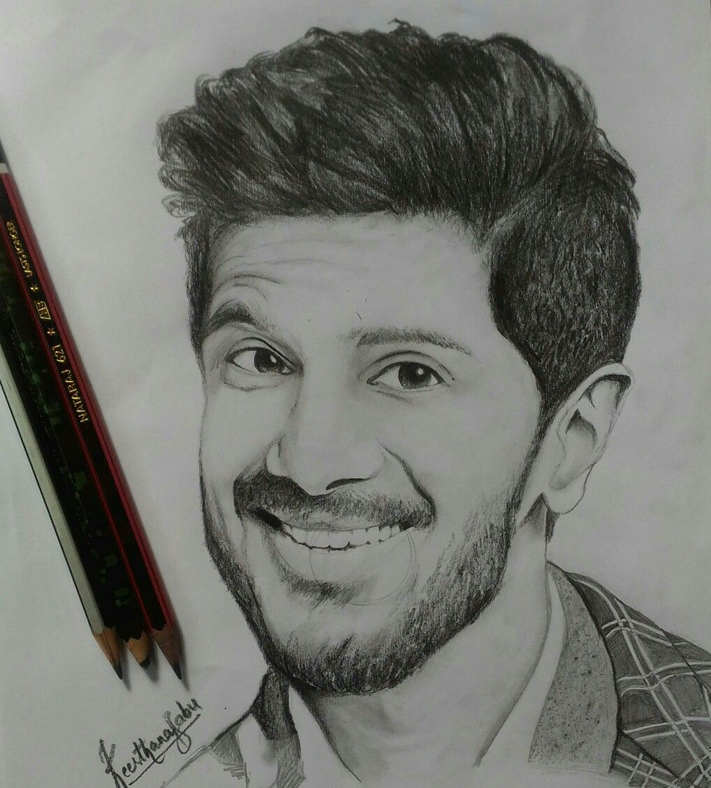 Dulquer salmaan my pencil sketchkbabu my artworks in 2019
