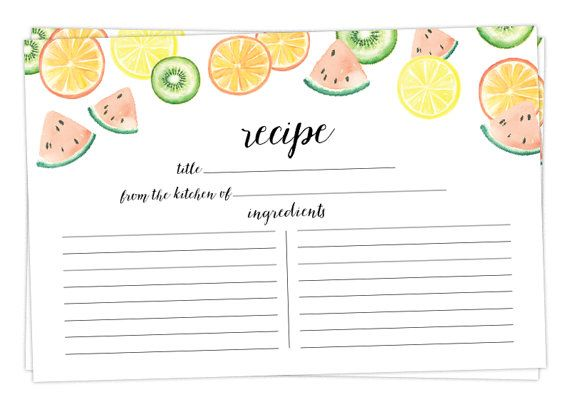 Watercolor Recipe Cards  Set of 15 30 or 50  by WatercolorPaperie