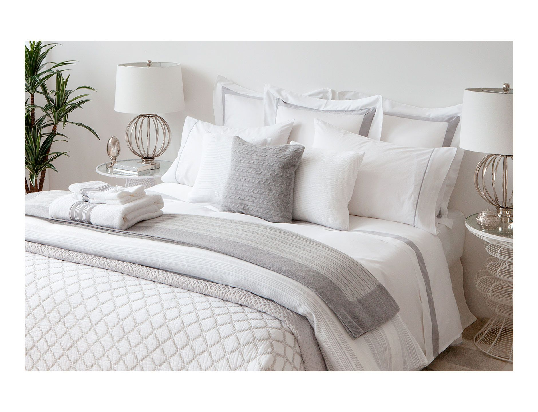 Hudson Park 600 Thread Count Stripe Cloud Full//Queen Duvet Comforter Cover $360