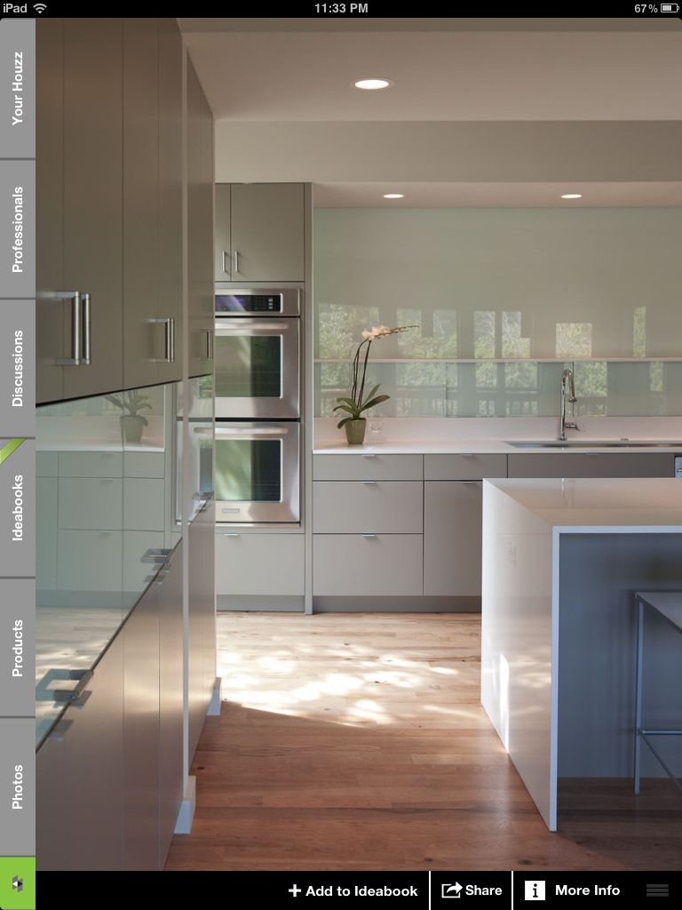 From Houzz Grey Green Cabinets Back Painted Glass Backsplash Flat Front Cabinets Modern Kitchen Design Sleek Kitchen Kitchen Interior