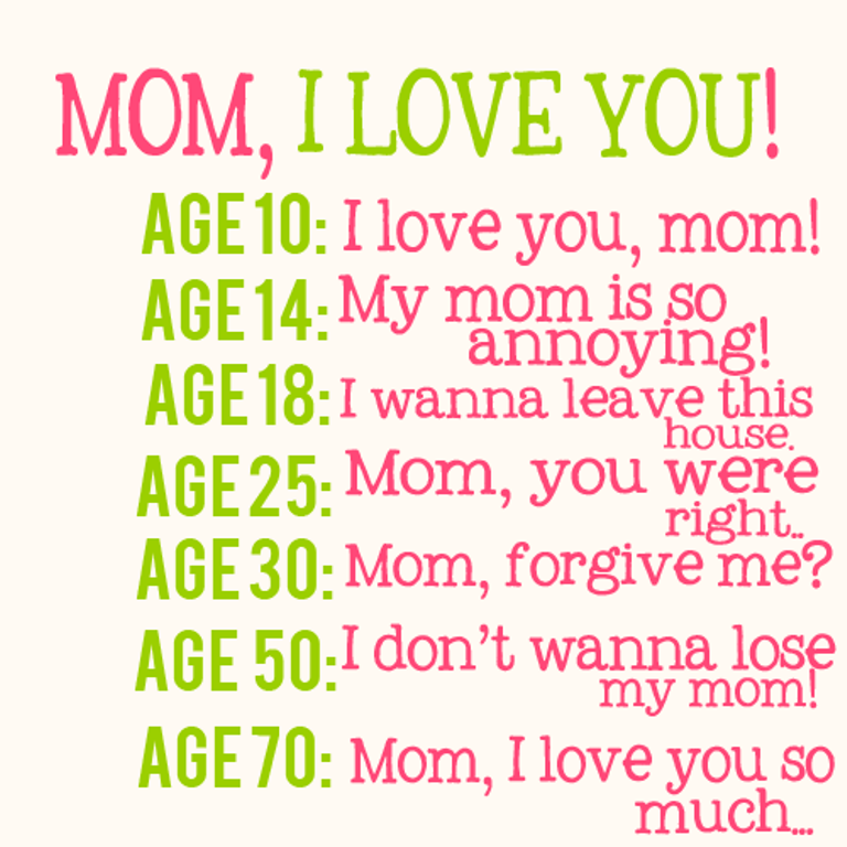 What did you say to your mom when you\'re the ages above? | BEAUTY ...