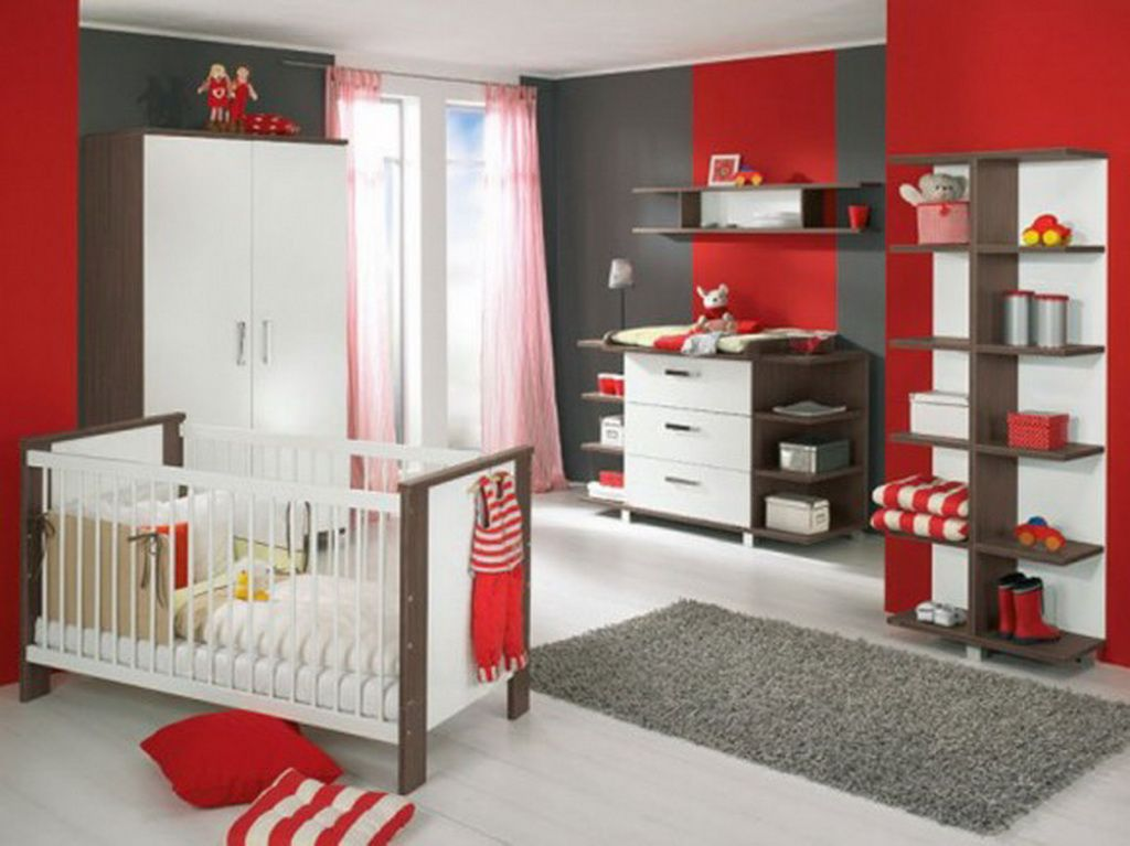 Boy Room Idea (red And Grey)  Could Be For Huskers Too