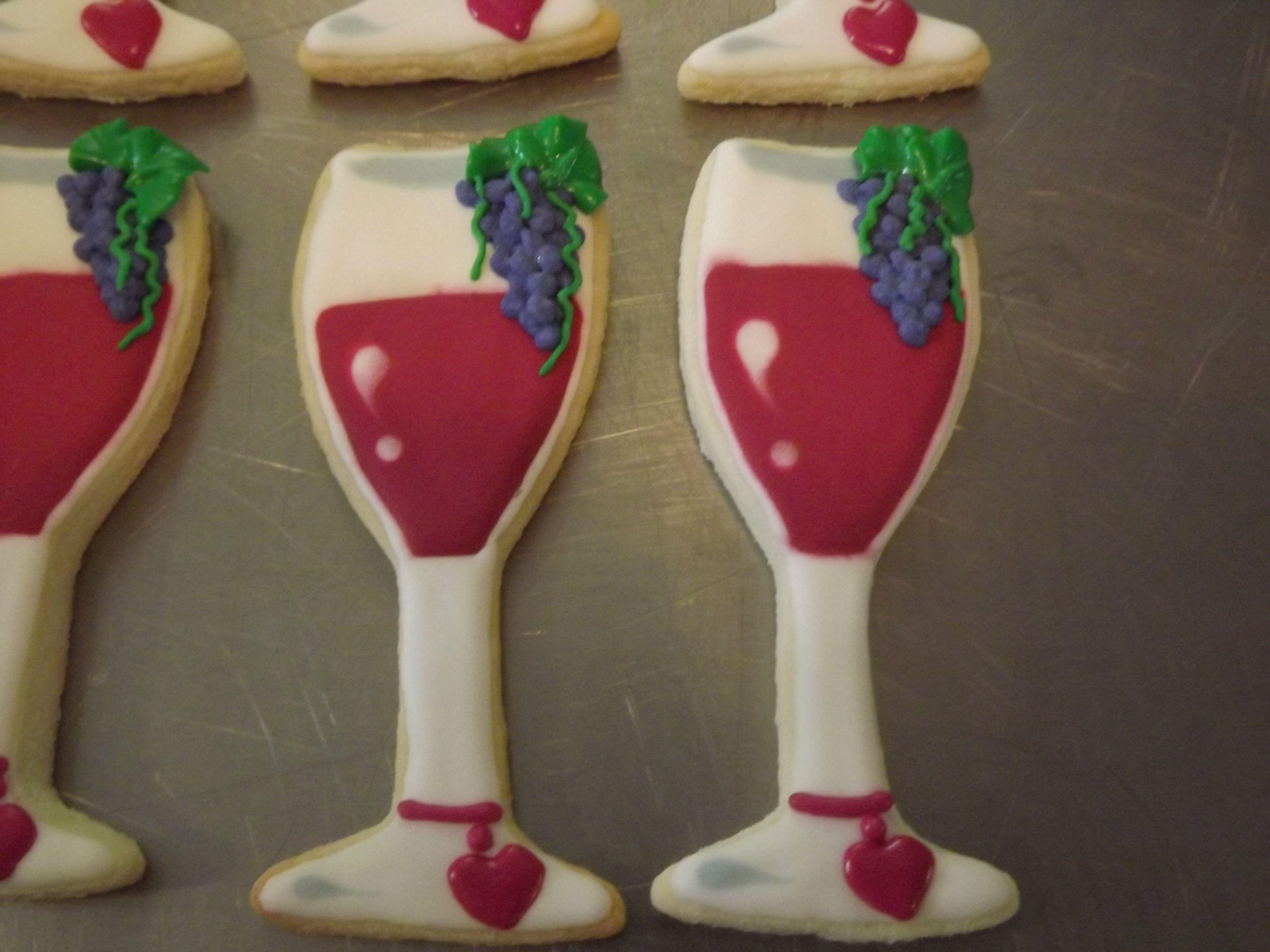 Wine Glass Cookies.... Wedding..... Log House Cookies