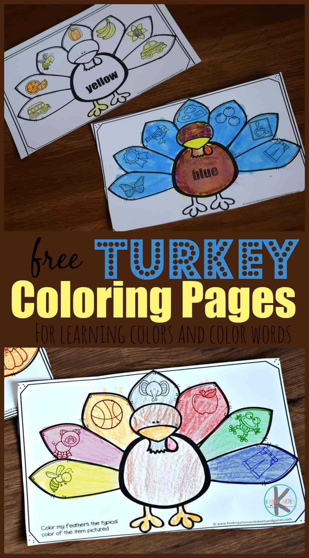 Free Turkey Coloring Pages Free Printable Thanksgiving Worksheets To Help Toddler Preschool Teaching Kids Colors Kindergarten Colors Thanksgiving Worksheets [ 1848 x 1024 Pixel ]