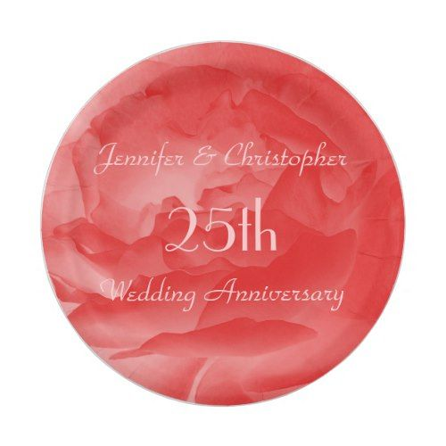Coral Rose Paper Plates 25th Wedding Anniversary Paper Plate  sc 1 st  Pinterest & Coral Rose Paper Plates 25th Wedding Anniversary Paper Plate ...